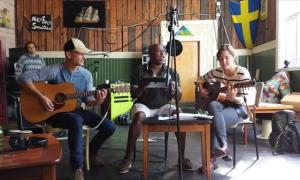 Tom Levin, Joel Deluna and Aimee Bobruk at The House of Songs
